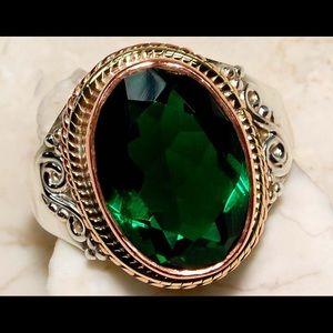 Emerald Quartz 925 Sterling Silver Victorian Ring
